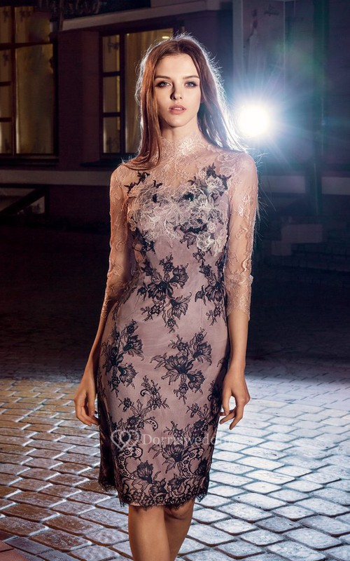 Pencil Knee-Length High Neck 3-4-Sleeve Lace Illusion Dress With Appliques