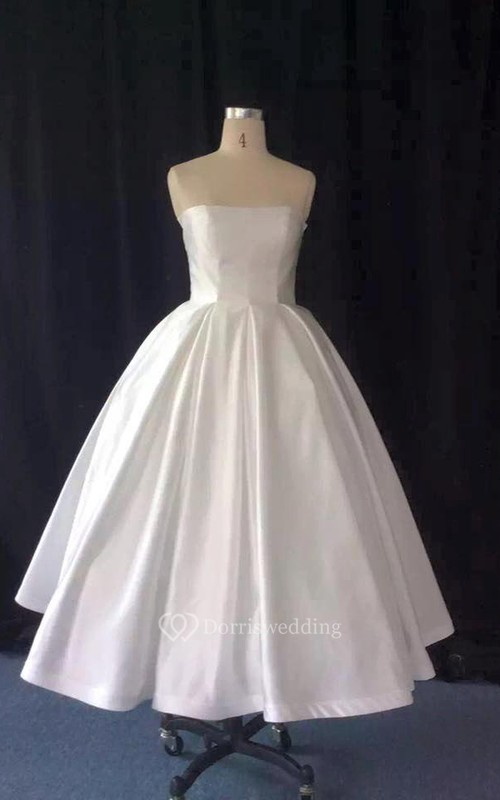 Taffeta A-Line Strapless Tea Length Ball Gown - Dorris Wedding