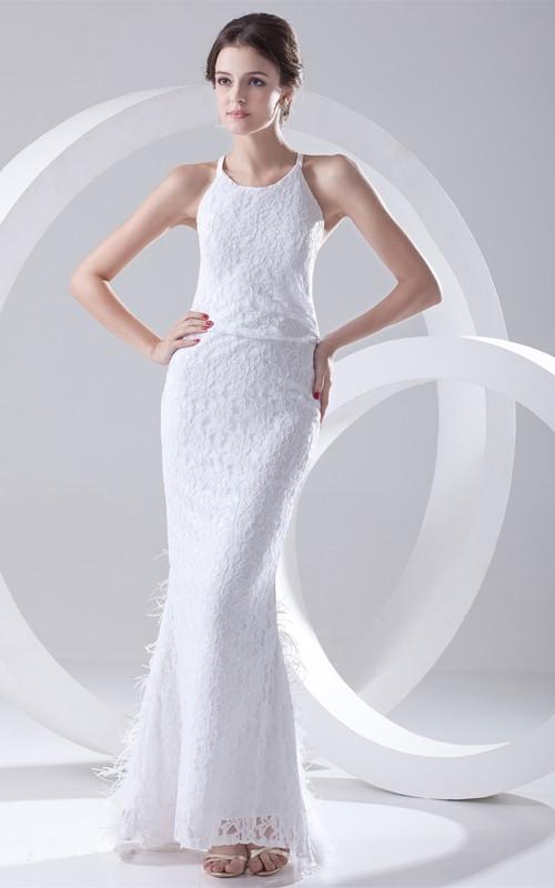 Trumpet Scoop Neck Wedding Dress
