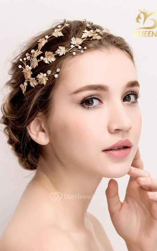 Handmade Vintage Golden Leaves Rhinestones Vines Hairband Bespoke