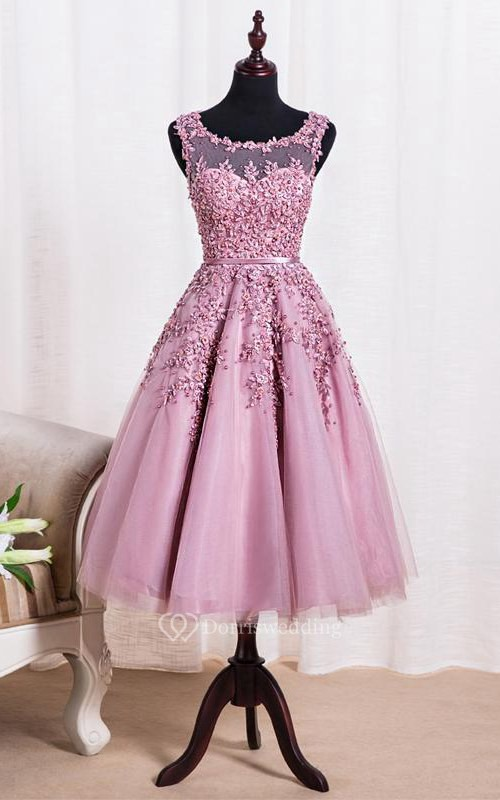 Elegant Scoop Tea Length Dress With Applique Pearls