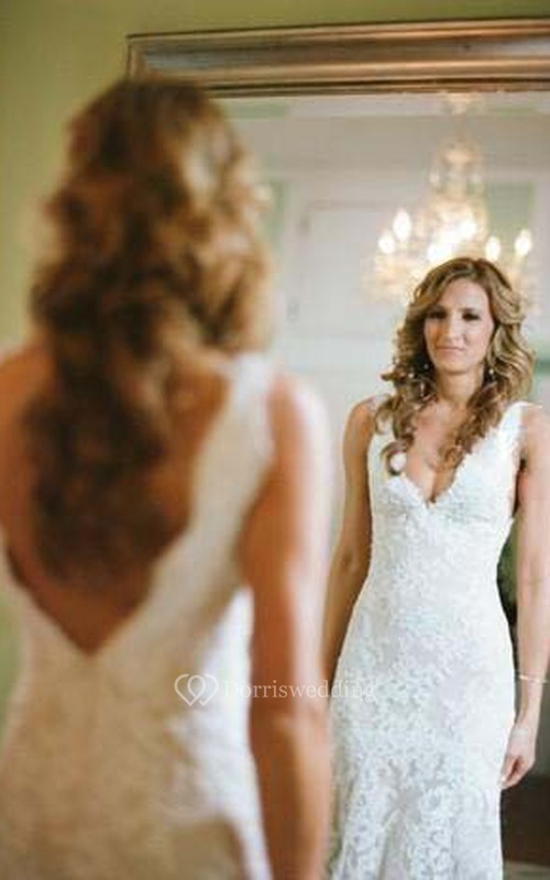 Sleeveless Deep V Neck Backless Mermaid Lace Summer Wedding Bridal Gown