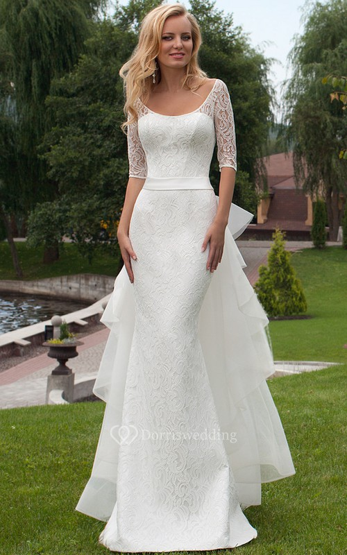 Sheath Scoop Neck Bowed Half Sleeve Lace Wedding Dress - Dorris Wedding
