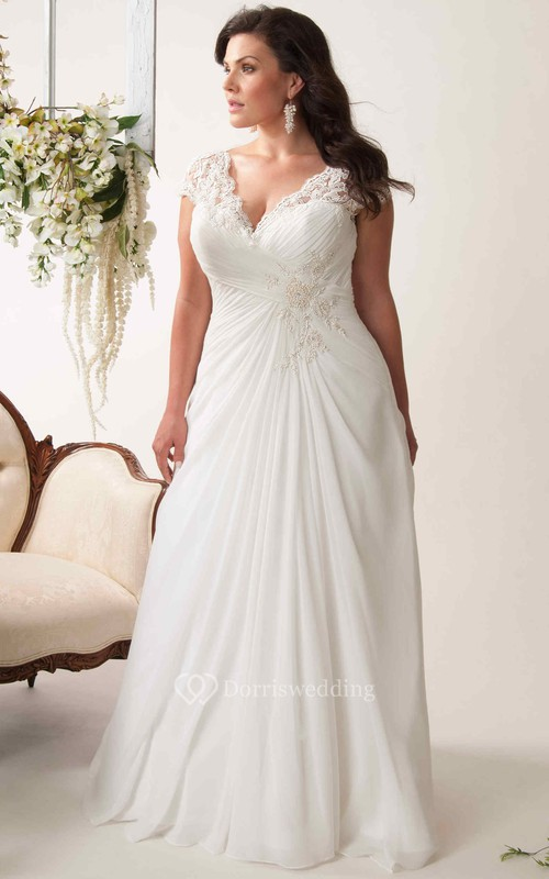 Sheath V-Neck Appliqued Cap-Sleeve Chiffon Plus Size Wedding Dress With Ruching And Keyhole