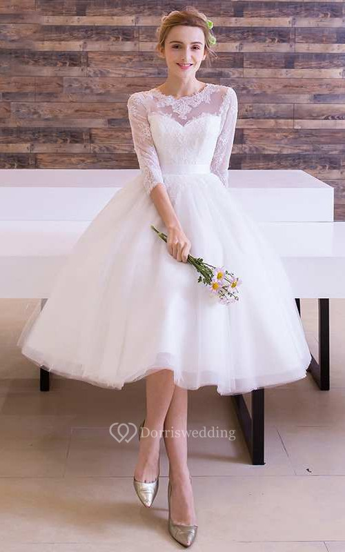 Long Sleeve Jewel Neck Pleated Tea Length Lace Dress