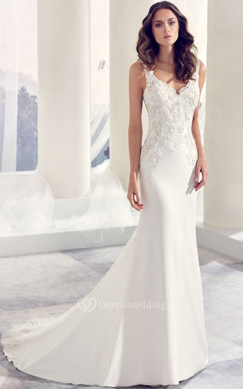 V-Neck Floor-Length Appliqued Chiffon Wedding Dress With Court Train ...