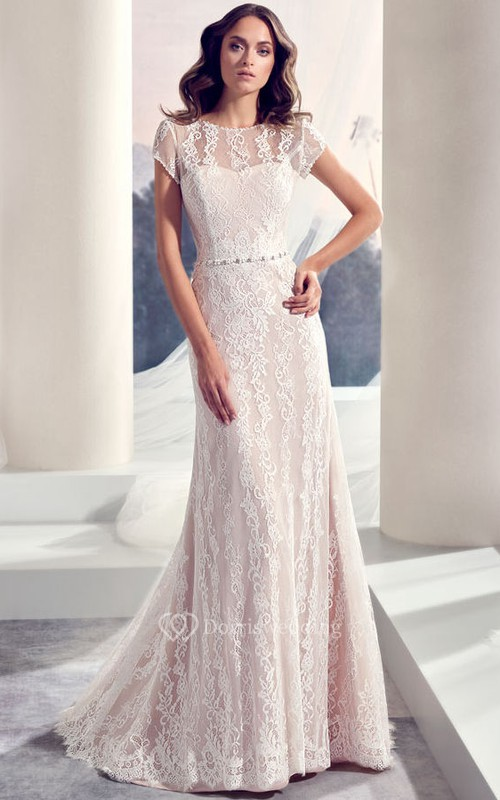 Floor-Length Scoop Jeweled Cap-Sleeve Lace Wedding Dress With Brush Train And V Back