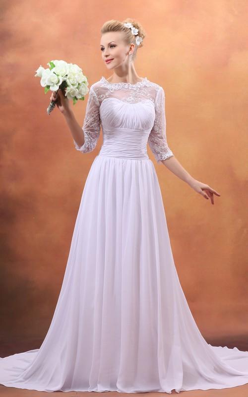 Sweetheart Chiffon Pleating Dress With Brush Train - Dorris Wedding