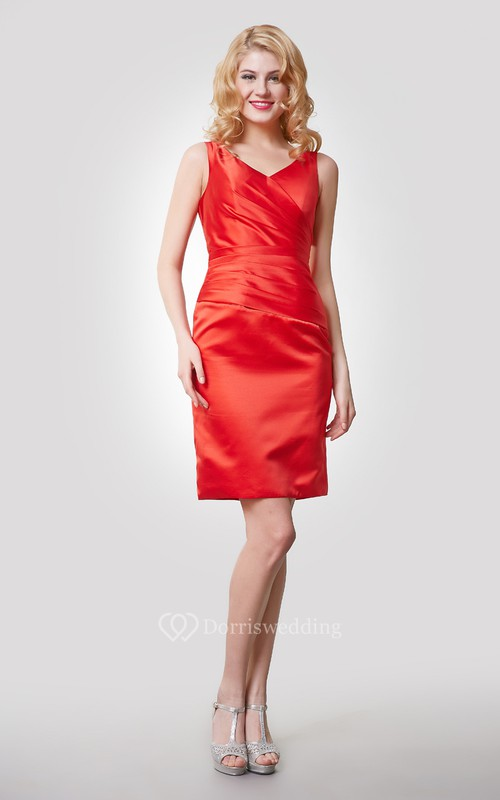 Sleeveless V-Neck Short Satin Dress With Ruching and Asymmetrical Waistline