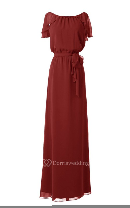Bateau Long Chiffon Dress With Draping and Belt