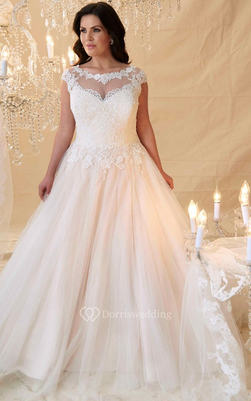 Ball Gown Cap-Sleeve Scoop-Neck Lace&Tulle Plus Size Wedding Dress ...