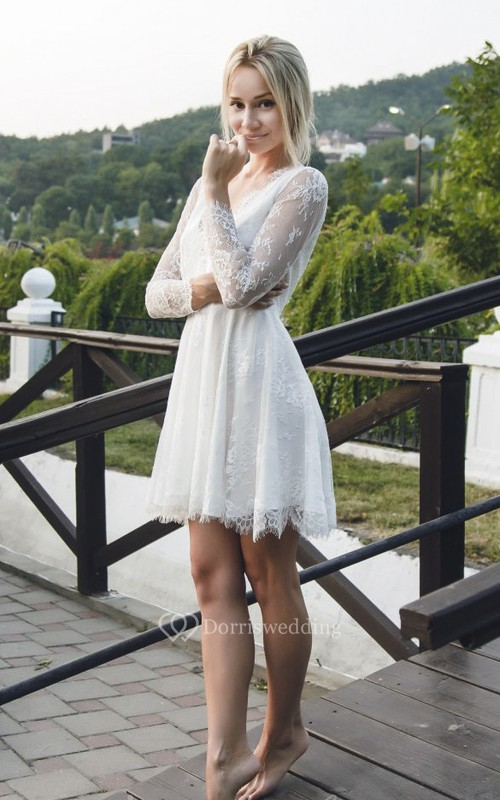 Lace Long Sleeve Short Sexy Wedding Dress With Deep V-neck