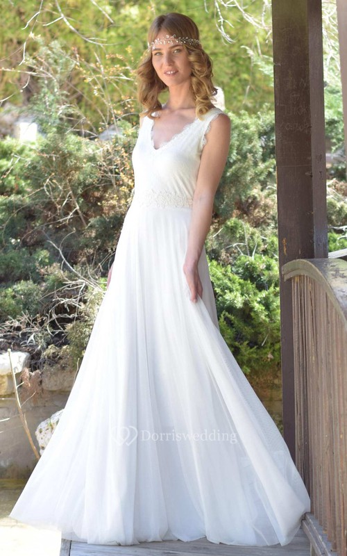 Plunged Sleeveless Chiffon Lace Wedding Dress With Bow And Deep-V ...