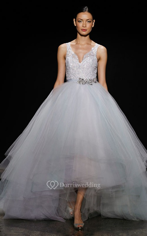 Magnificent Lace Bodice High-low Tiered Tulle Ball Gown With Crystal ...