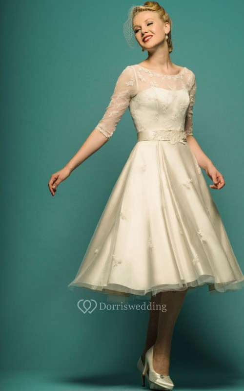 A-Line Tea-Length Illusion Sleeve Scoop Neck Appliqued Tulle Wedding ...