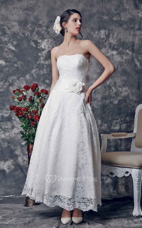 Delicate Strapless Tea Length Lace Dress With Floral Ruched Waistline