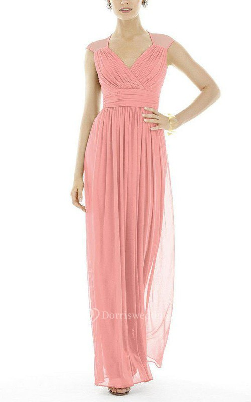 Illuson Ruched Chiffon Bridesmaid Dress