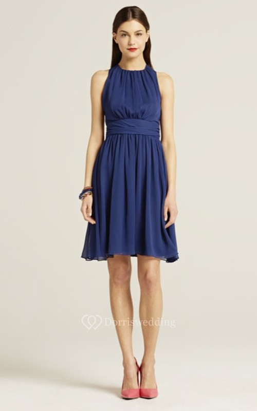 Sleeveless A-Line Short Dress With Jewel Neck