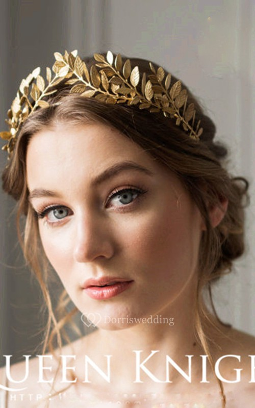 Western Style Vintage Handmade Laurel Olive Gold Hair Hoop Crown