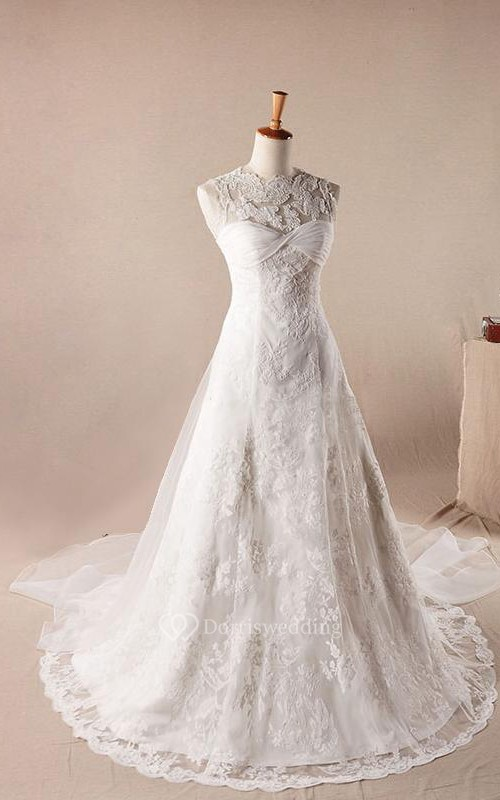 A-Line Ball Gown Floor-Length Off-The-Shoulder One-Shoulder Scoop Sleeveless Bell Pleats Appliques Embroidery Sweep Train Zipper Lace Dress