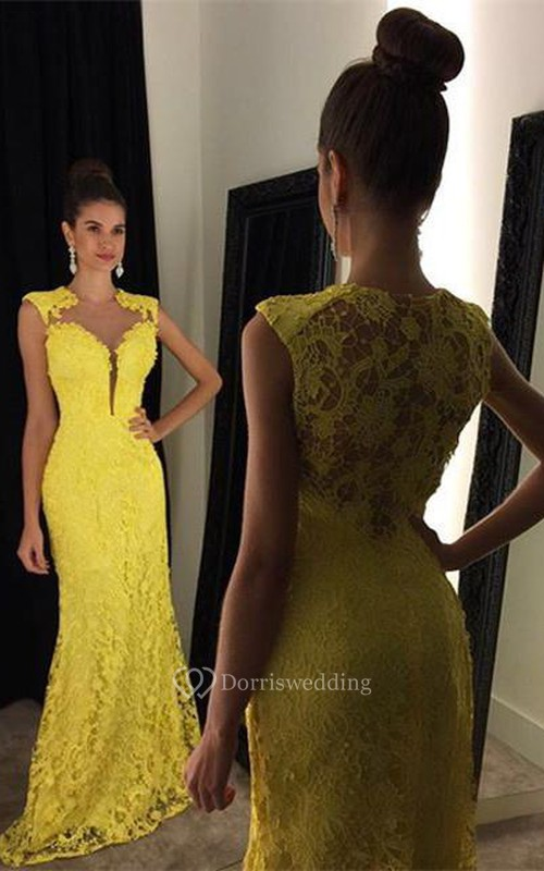 d3210d5d757 Delicate Yellow Lace 2018 Prom Dress Mermaid Sweep Train - Dorris ...