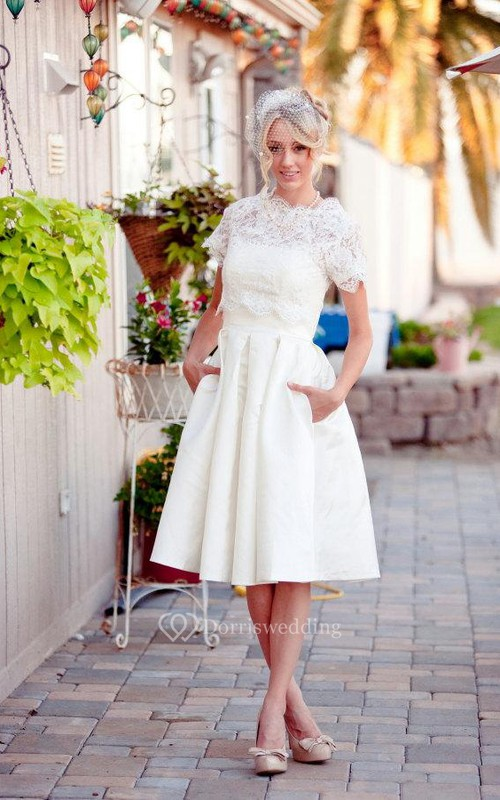 Scalloped Short Sleeve Satin Wedding Dress With Lace And Button Back ...