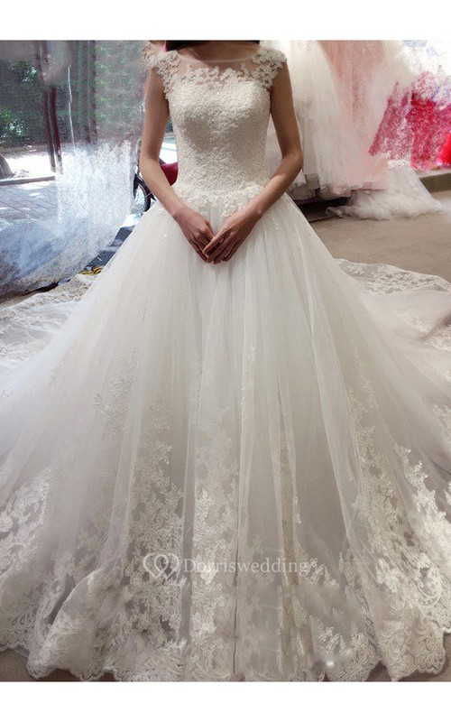 Ball Gown Cap Sleeve Bateau Applique Court Train Lace Tulle Wedding Dresses