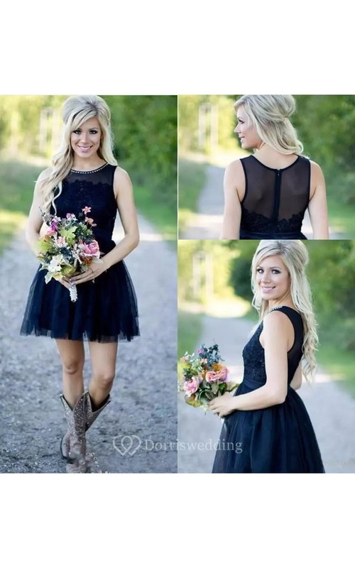 Jewel Sleeveless Short Lace Tulle A-Line Dress