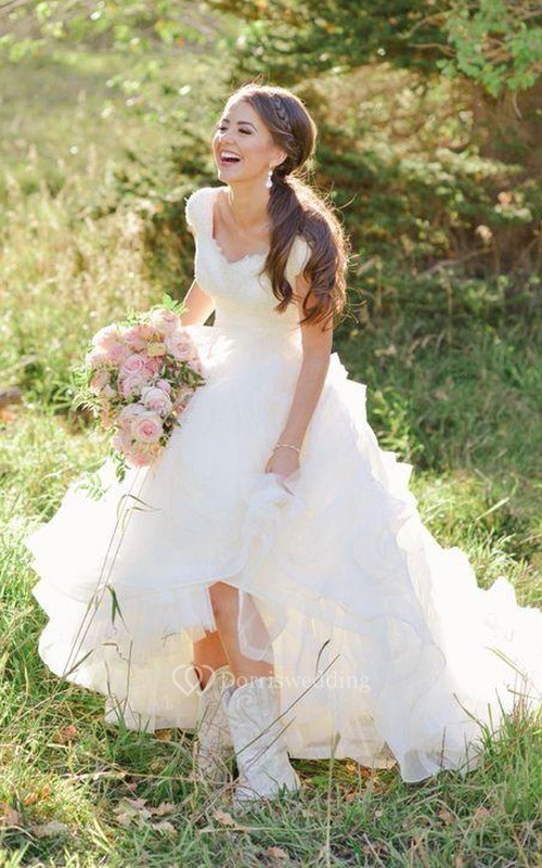 Cowboy Boots V-neck Ruffles Tiered Skirt A-line Lace Organza Wedding ...
