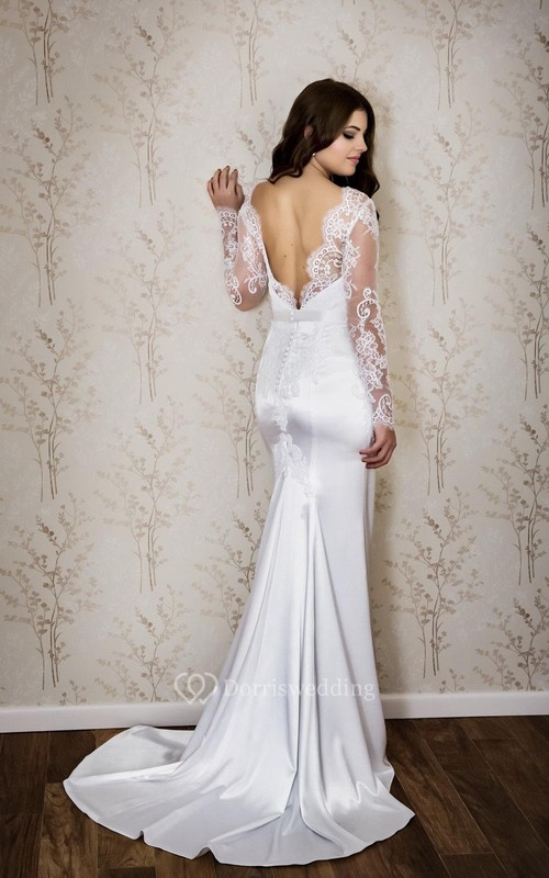 Lace and Satin Mermaid Dress With Long Sleeves and Deep-V Back