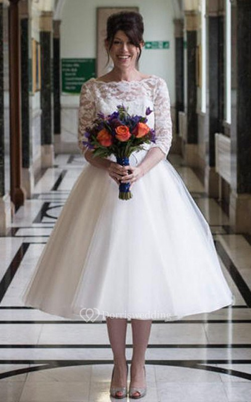 Knee-Length Half Sleeve Keyhole Tulle Lace Dress