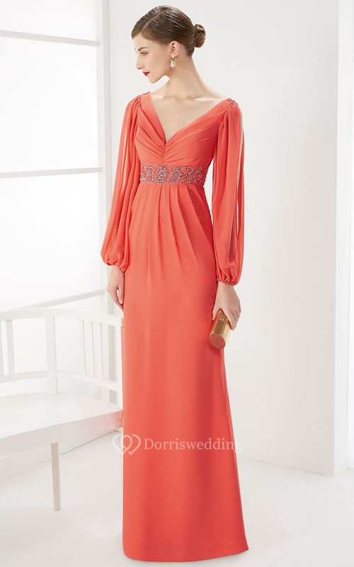 Empire V Neck V Back Long Split Sleeve Long Prom Dress With Back Spaghetti Straps