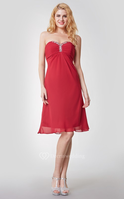 Beaded Sweetheart Empire Waist Short Chiffon Dress