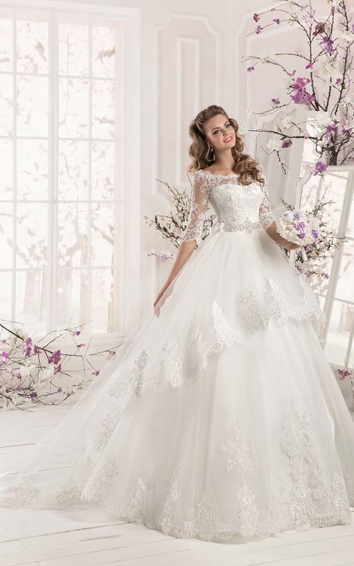 Bateau Neck Half Sleeve A-line Organza Wedding Dress With Lace ...