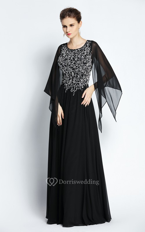 A-Line Floor-length Jewel Chiffon Long Sleeve Prom Dress with Beading and Pleats