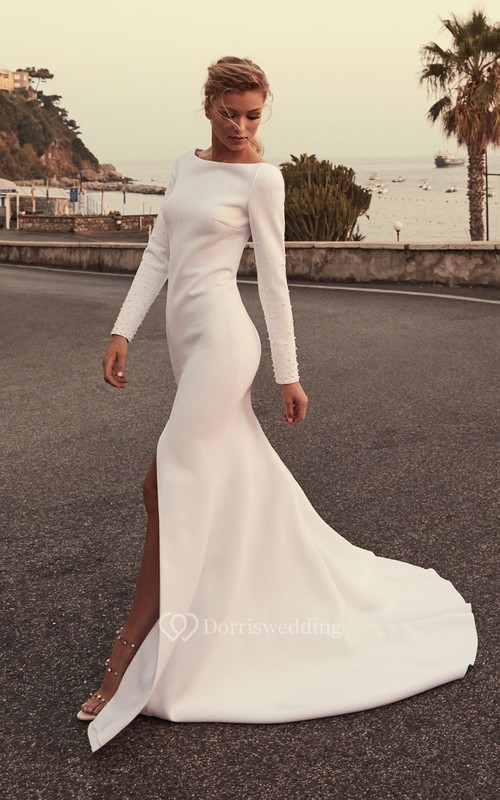 Sexy Satin Mermaid Long-Sleeve Front Split Wedding Dress with Beading