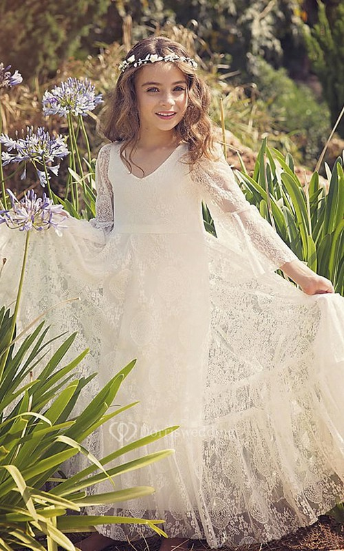 Lace Bohemian Simple Flower Girl Dress With Bell Sleeves