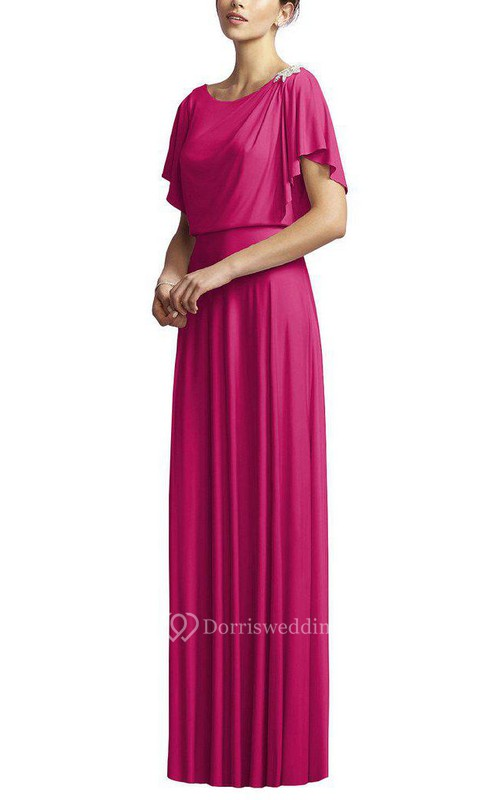Short Sleeve Long Bridesmaid Dress with Applique