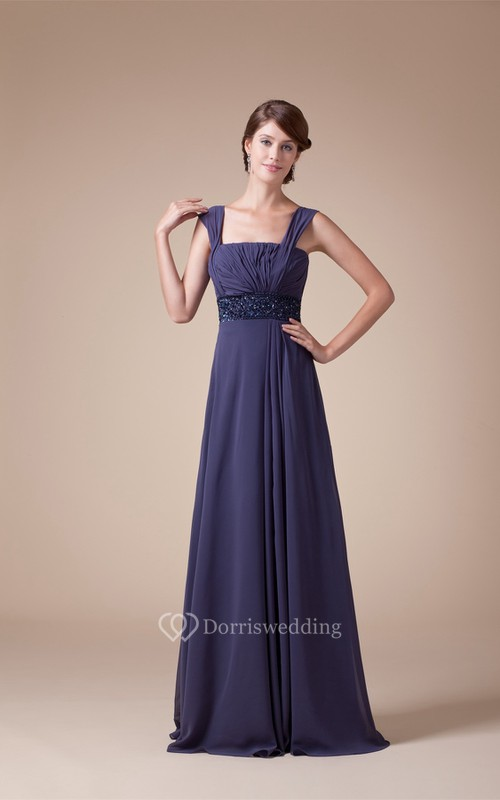 Sleeveless Square Ruched A-Line Gown With Jeweled Empire Waist