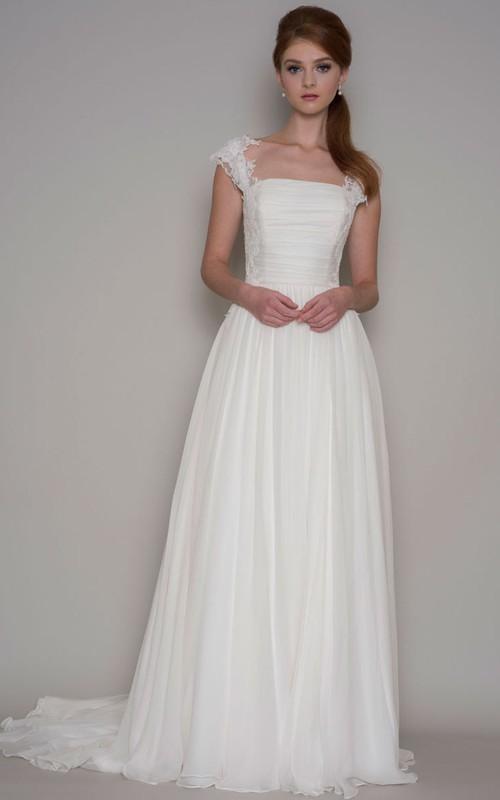 Floor-Length Ruched Cap-Sleeve Square-Neck Chiffon Wedding Dress ...