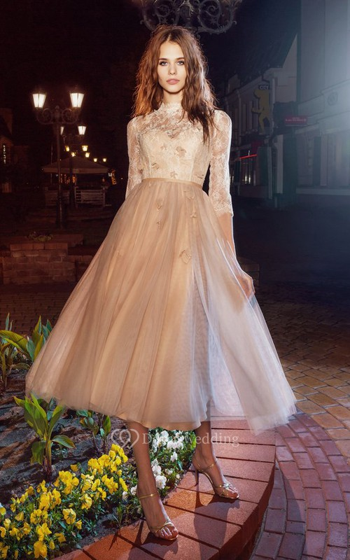 A-Line Tea-Length High Neck Half Sleeve Tulle Illusion Dress With Appliques And Flower