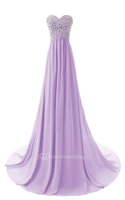 Sweetheart Long Chiffon Gown With Crystal Bodice