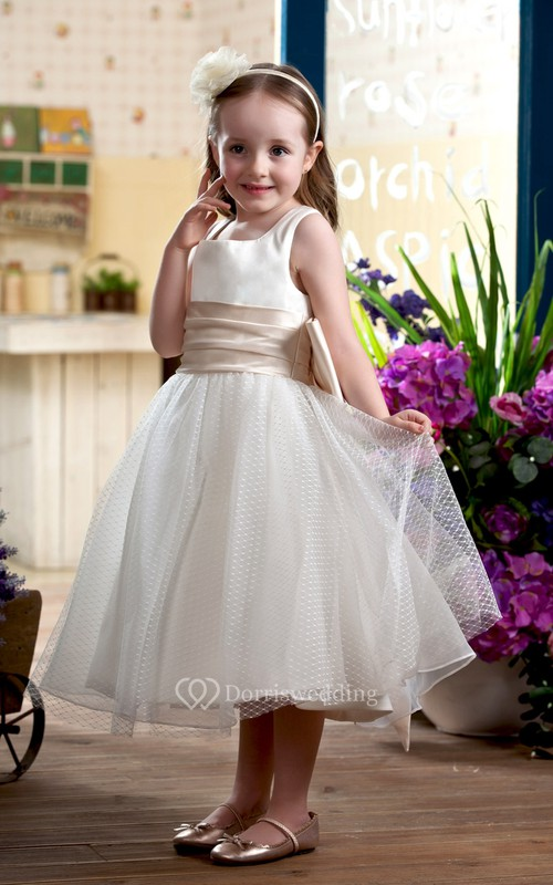 Lovely Sleeveless Tea-Length Flower Girl Dress With Bow
