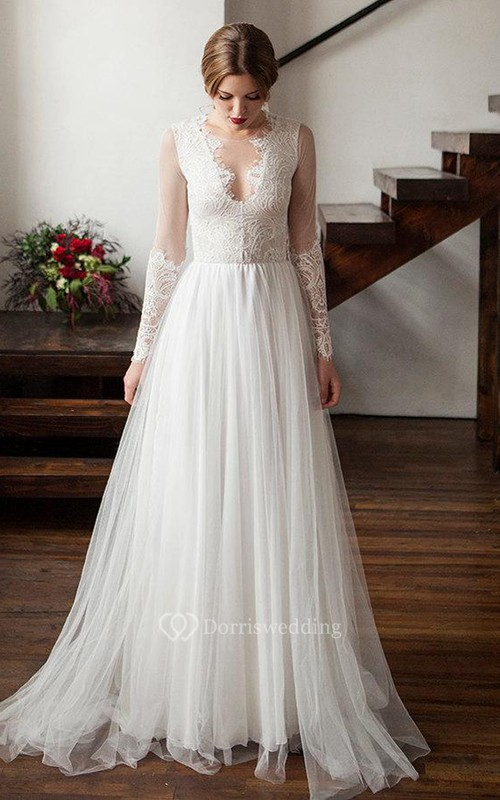 Illusion Scoop-Neck Long Sleeve Lace Tulle Wedding Dress With Pleats ...