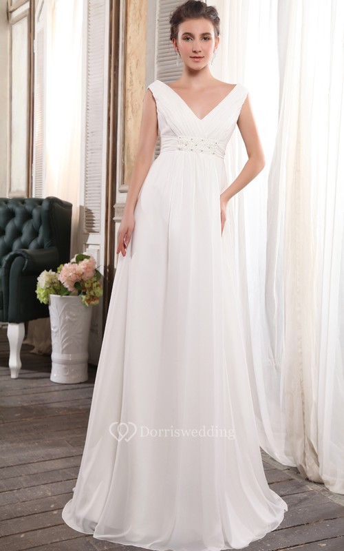 Deep V-Neck Strapless Empire Chiffon Dress With Beading