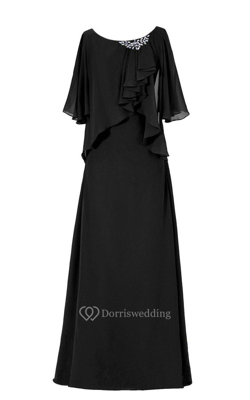 Half-sleeved Chiffon Gown With Ruffles and Beadings