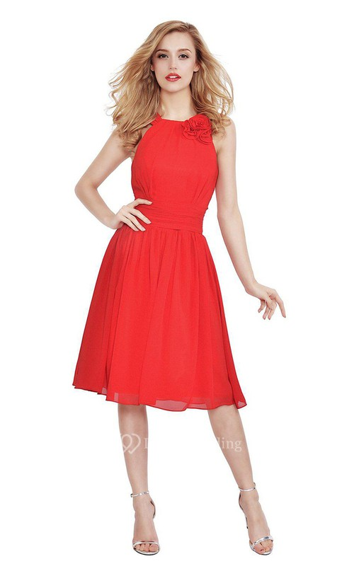 Sleeveless Knee-length Chiffon Dress With V-back