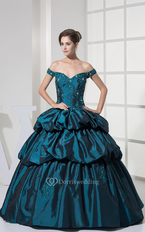 Strapped Pick-Up Corset Back and Ball-Gown With Appliques