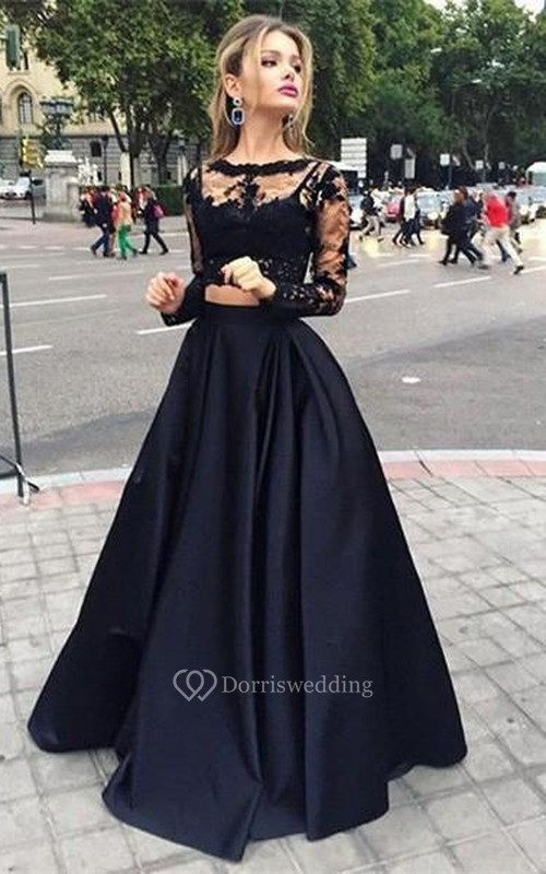 Ball Gown Long Sleeves Bateau Satin Floor-Length Dresses - Dorris ...