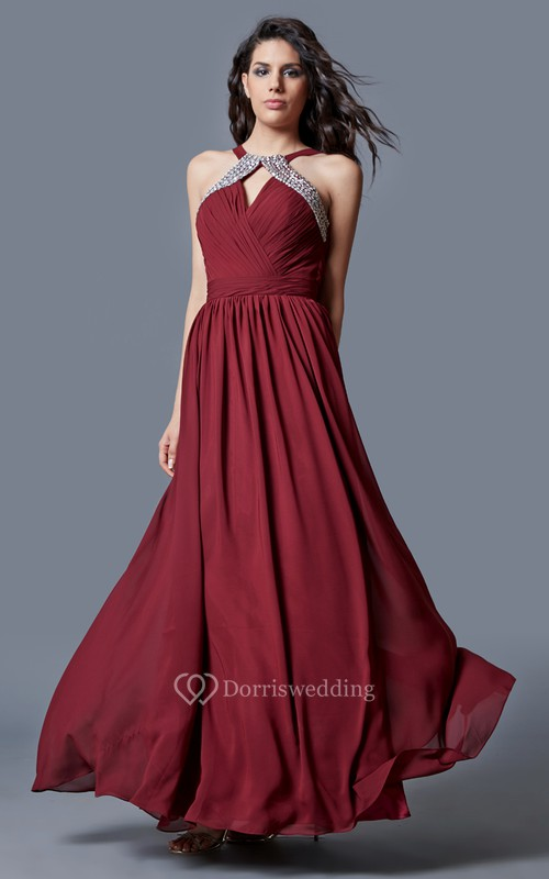Ambition Halter Neck Ruched Long Chiffon Dress With Beaded Detailing